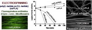 Antibacterial fluoroquinolone fibrous